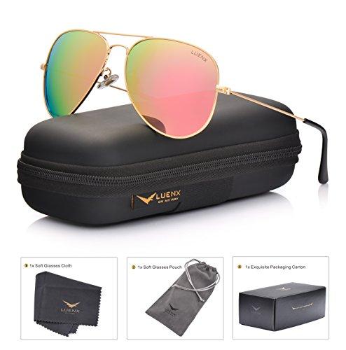 LUENX Aviator Womens Mens Sunglasses Polarized Pink Mirrored lenses Gold Frame UV 400 Protection Classic (Polarized Aviator Shades)