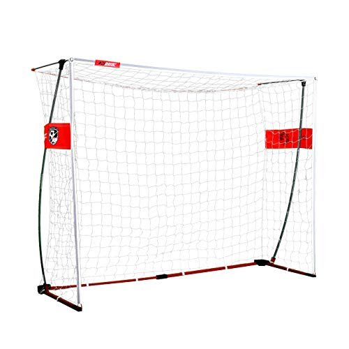 Rukket Portable Soccer Goal 6x4 or 8x6 ft | Bow Style Goals for Kids and Adults | Backyard and Indoor Collapsible Pop-Up Net with Carry Bag (8x6ft Bow Style) ()