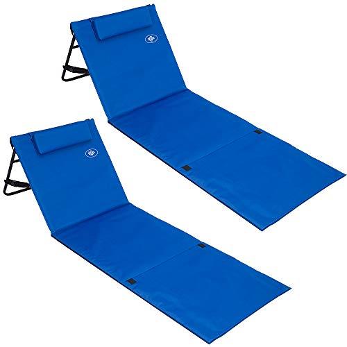 🥇 Deuba 2X Tumbonas Acolchadas Azul con Respaldo Regulable y Correa de Transporte Bolsillo con Cremallera Silla Playa
