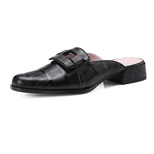 WSXY Zapatilla Tacón Para Zapatos Toe Mujer Black Cuero KJJDE Chanclas L0104 Peep Caminar Repujado Sandalias Clásico Confort xEUqxgI