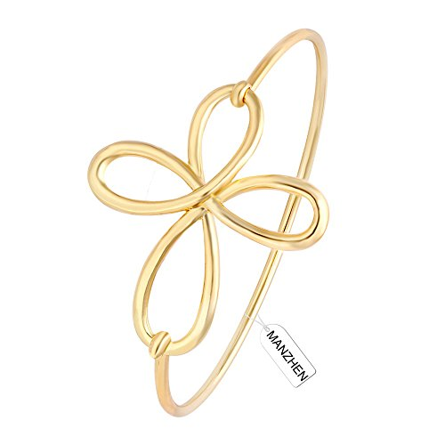 Irish Celtic Cuff Bangle (MANZHEN Dainty Open Irish Celtic Love Knot Bangle Bracelet Cross Cuff Bracelet Bangle for Women (10K gold plated))