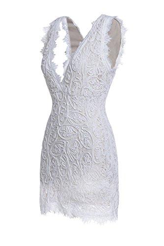 ZKESS Women's Sleeveless Lace Party Club Mini Dress XL Size White