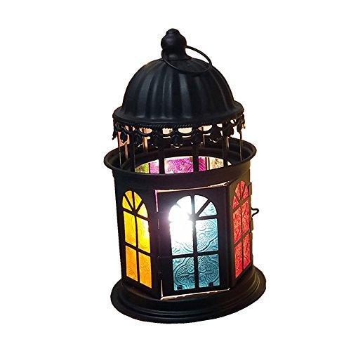 (KMYX Moroccan Stained Glass Lantern Table Lamp Salt Lamp Warm Bedside Lamp with Dimmer Switch Decorative Desktop Bedroom Study Office Children's Room Desk Lights (Color : Black))