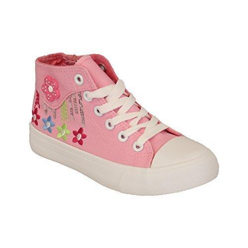 Mädchen Turnschuhe Kinder Blumenmuster Kelsi Kleinkinder Hoch Zum Schnüren Flache Pumps Reißverschluss Schuhe Pink - KYD06