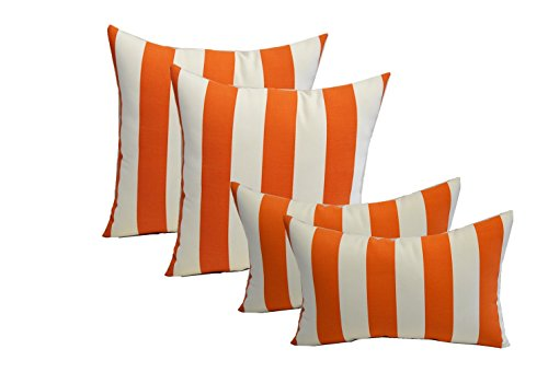 Set of 4 Indoor Outdoor Pillows – 17 Square Throw Pillows 11 x 19 Rectangle Lumbar Decorative Throw Pillows – Preppy Orange and White Stripe