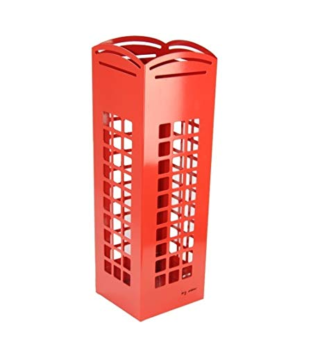 DRW Red Cabin Umbrella Stand with Hook for Small Umbrellas 15.5 x 15.5 x 49 cm