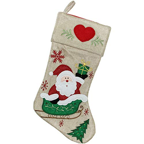 (Northlight Burlap Santa Claus in Sleigh Embroidered Christmas Stocking, 18