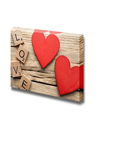 Red Heart on Old Wooden Background Wall Decor ation