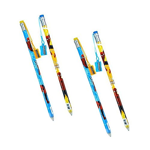 4-Pack Marvel's Ultimate Spider-Man 15-inch Jumbo Pencil with Pencil Sharpener Set -