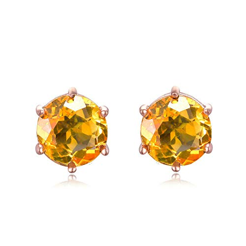 Citrine Gold Hook - XIEXIE Women's Earrings, 925 Sterling Silver Simple Stud Earrings Electroplating 18K Gold Inlaid Round Natural Citrine,Comes with Gift Box