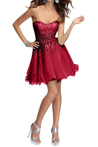 Damen Abendkleid Sweetheart Ivydressing Herz Steine Ausschnitt Kurz Cockteilkleid Weinrot Chiffon dP5Oq8Z