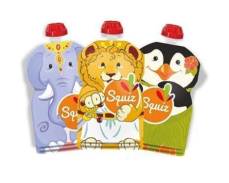 SQUIZ - 3 Bolsitas recargables y reutilizables 130ml para compotas y purés perfectas para niños, adolescentes y adultos // Libre de BPA - HECHO EN ...
