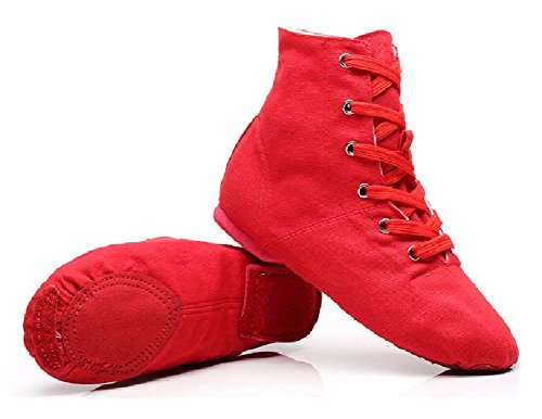 NLeahershoe Lace-up Canvas Dance Shoes Flat Jazz Boots for Practice, Suitable for Both Men and Women (1.5K/32, red) ()