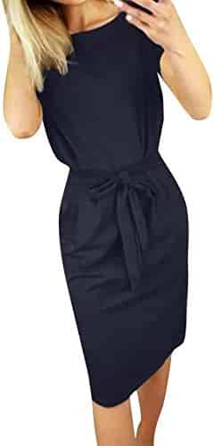 27a6c1793c4938 Ymibull Women Short Sleeve Dress Solid Color Pocket Dress Summer Casual  Bandage Evening Party Mini Dress