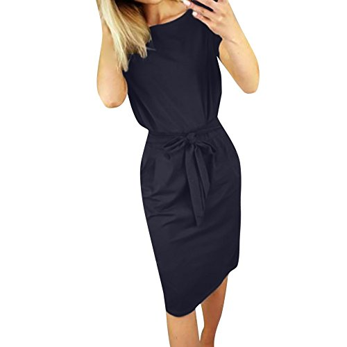 Womens Slim Boat Neck Work Business Pencil Dress Short Sleeve Tie Waist Midi Dresses with Pocket (XL, Navy)
