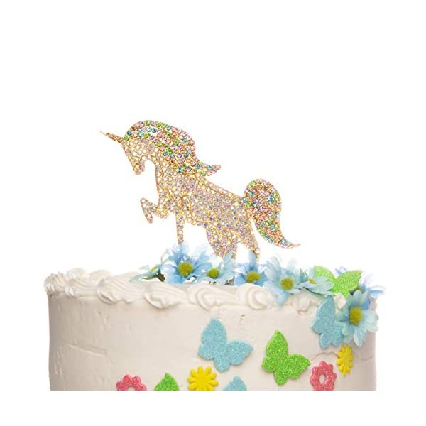 Ella Celebration Unicorn Birthday Cake Topper Unique Reusable Rainbow Rhinestone Cake Decorations for Party, Baby Shower, Event Supplies and Favors (Gold) 8