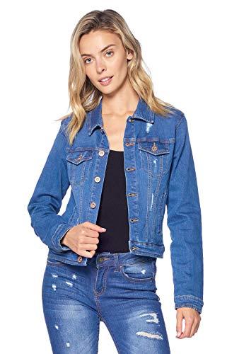 Blue Age Women's Distressed Jean Jacket Light Denim (JK4020_LT_M) ()