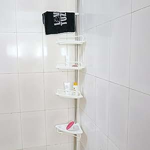 4 tier estante ba o estanter a telesc pica para ducha for Estanteria telescopica