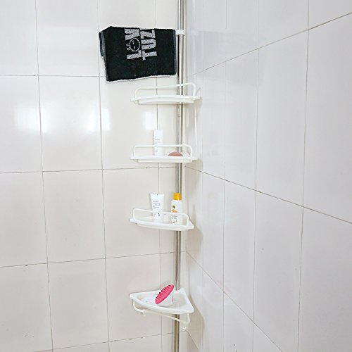 Review 4-Tier Bathroom Corner Shelf,Adjustable Telescopic Shower Shelf Shower Corner Rack By Estink by Estink