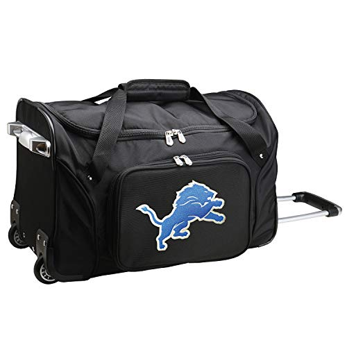 NFL Detroit Lions Wheeled Duffle Bag, 22 x 12 x 5.5, Black from Denco