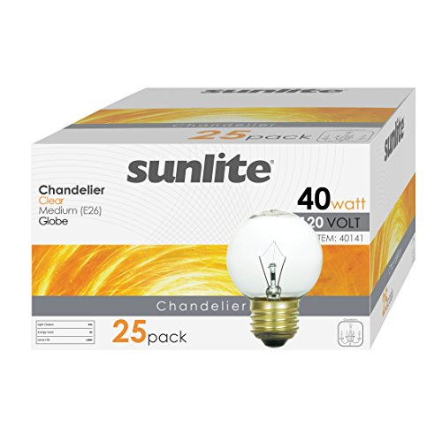 Sunlite 40G16/CL/MED/25PK 40W Incandescent G16 Globe Light Bulb Medium (E26) Base (25 Pack), Crystal Clear