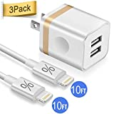 Phone Charger 10ft with Wall Plug, FIMARR 2-Pack 10-Feet Long Charging Cable and Dual USB Wall Charger Adapter Block (2.1A/5V) Compatible with iPhone Xs/Max/XR/X 8/7/6 Plus 5S/SE/5C (3in1)