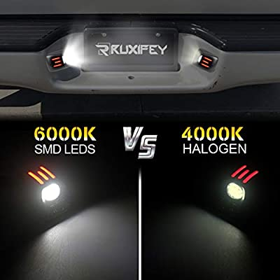 RUXIFEY LED License Plate Light with Red OLED Neon Tube Compatible with 1995-2004 Toyota Tacoma, 6000K White, Pack of 2: Automotive