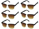 CLASSIC RETRO SUNGLASSES. Black Horn Rimmed Half Frame Vintage Round Sunglasses for Women & Men. Cheap Sunglasses for Bachelorette Party or Bachelor Party Favors (Brown Gradient Lens - 6 Pack)
