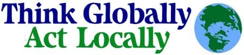 Peace Resource Project Think Globally Act Locally Environmental Bumper Sticker//Decal 11 X 2.5