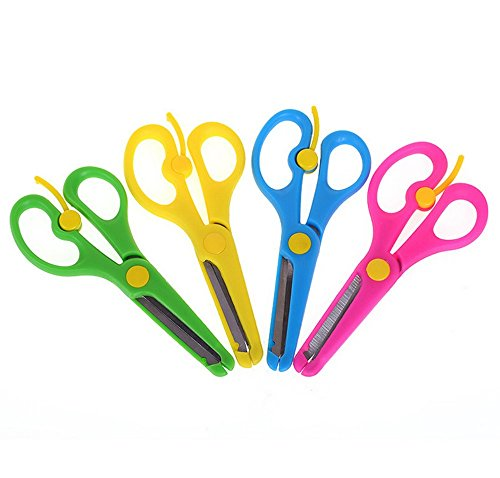 Honbay 4pcs Artwork Safety Anti-pinch Kids Scissors Cutting Tools Paper Craft Supplies (Safety School Works Scissors)