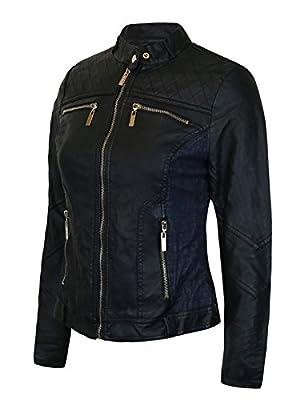 Instar Mode Women's Faux Leather Zip Up Moto Biker Jacket