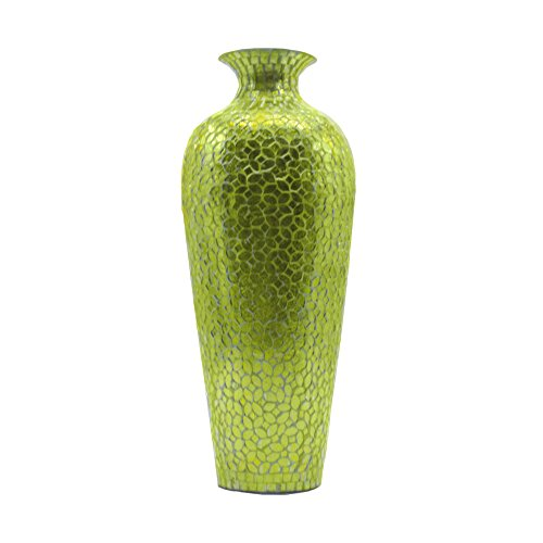 DecorShore Vedic Vase -Sparkling Metal Floor Vase with Floral Pattern Glass Mosaic Inlay, 20 in. Decorative Vase, Designer Vase (Greenery) (Green Vase Large)