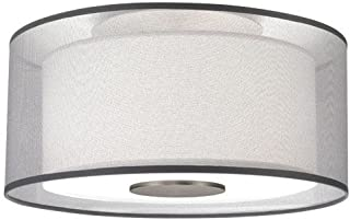 product image for Robert Abbey S2197 Semi-Flush Mounts with Silver Transparent Exterior and Ascot White Fabric Interior Shades, Stainless Steel Finish