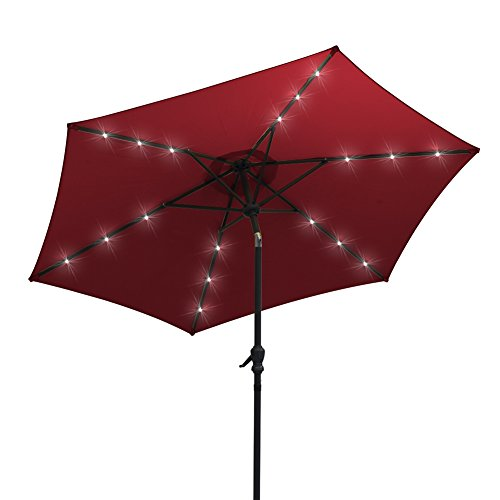 AOODA 9 ft LED Lighted Patio Umbrella LED Solar Power Table Market Umbrella, with Tilt Adjustment and Crank Lift System, Perfect for Outdoors, Patio, or any Parties (Wine Red) For Sale