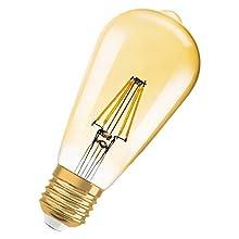 Lámpara Osram LED Vintage Edition 1906, en forma de Edison con casquillo E27, no regulable, 4W (equivalente a 34W), blanco claro y cálido (2400 Kelvin), 380 lm, 1 paquete