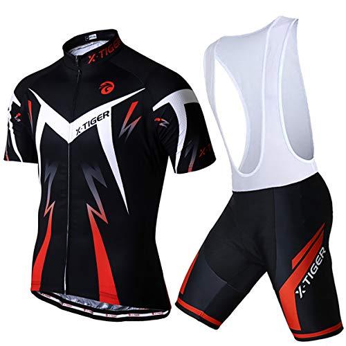 X-TIGER Men's Cycling Jersey Set,Biking Short Sleeve Set with 5D Gel Padded Shorts,Cycling Clothing Set for MTB Road Bike,Red Bib XXXL