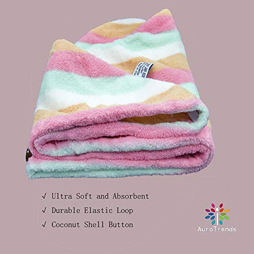 AuroTrends Microfiber Hair Towel Wrap 2 Pack,Quick Dry Hair Drying Towel Super Absorbent Hair Wrap Set of 2-2020 Updated Version (Rainbow)