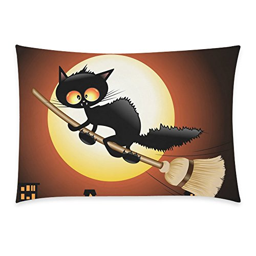 [InterestPrint Happy Halloween Cute Black Cat Lovely Moon Cartoon Home Decor Pillowcase 20 x 30 Inches - Night Moon Cat Flying on Witch Broom Pillow Cover Case Shams] (Cute Halloween Pictures Of Cats)