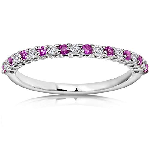 Kobelli Diamond and Pink Sapphire Band 1/4 CTW in Platinum, Size 11, Platinum