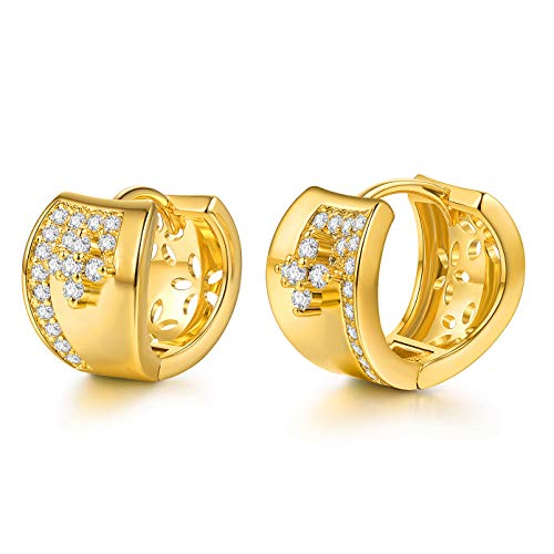Cuff Earrings Yellow - CZ Hoop Earrings with Cushion Cut Cubic Zirconia 24K Gold Plated Ear Cuff Huggie Earrings Wonderful Gift Choice for Girls Women and Men (Yellow-5(In the)