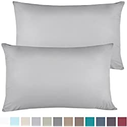 Empyrean Bedding Set of 2 Premium King-Size Pillowcases Microfiber Linen, Hypoallergenic & Breathable Design, Soft & Comfortable Hotel Luxury - Silver Light Gray