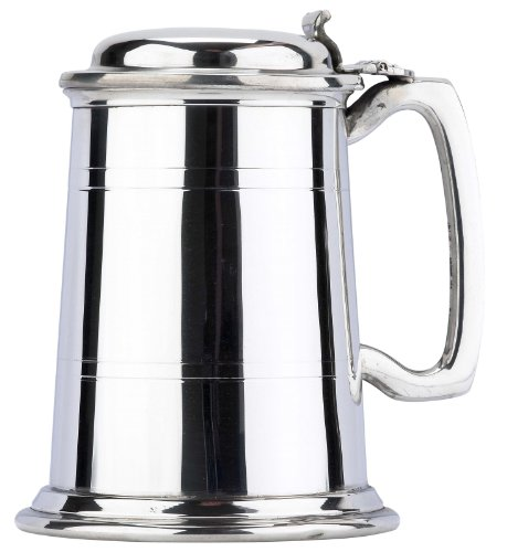 Commodore Two Line Fine English Pewter Tankard with Lid Beer Mug Made in England