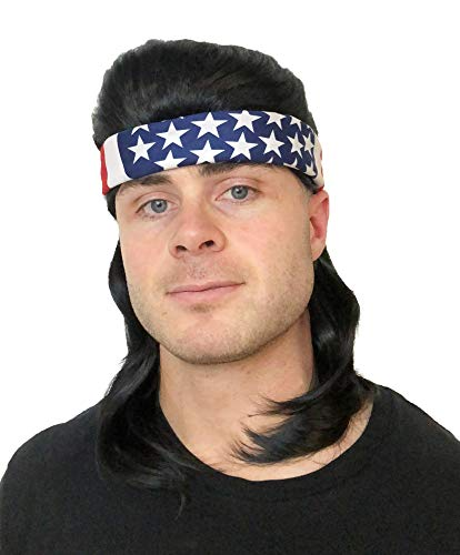 2 pc. Premium Black Mullet Wig (Flowtop) + USA Bandana: Redneck Halloween Costume Men's 80s Wig Mullets for Kids Adults Hillbilly Costumes Women's Kid's Men's 80's Mullet Wigs for Men Women Children