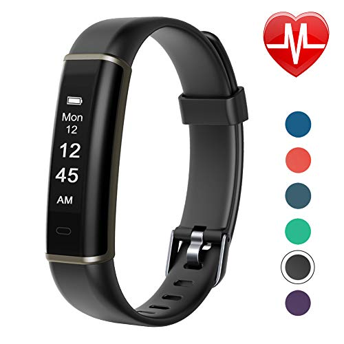 Letsfit Fitness Tracker with Heart Rate Monitor, Pedometer Watch, Waterproof Smart Watch Activity Tracker with Step Counter, Sleep Monitor, Step Tracker for Kids Women and Men (Black) ()