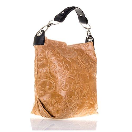 FIRENZE ARTEGIANI.Bolso de mujer piel auténtica.Bolso mujer cuero genuino grabado motivo arabescos y lacado. Detalles en Dollaro. MADE IN ITALY. VERA PELLE ITALIANA. 38x34x15 cm. Color: CAMEL