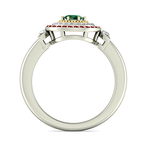 14K Or blanc, 0.16carat Diamant Blanc (IJ | SI) Rubis, Émeraude et diamant Bague