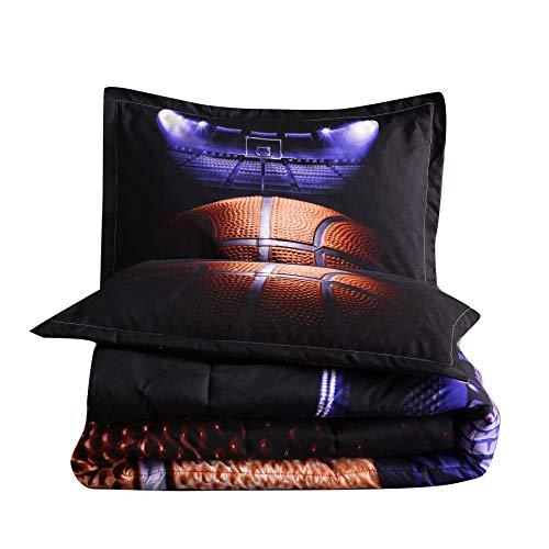A Nice Night Madness Basketball Printing Comforter Quilt Bedding Set for Teen Boys (Basketball Court)