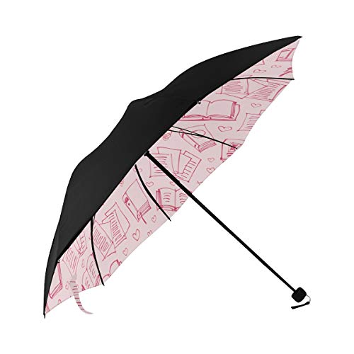 Book Knowledge Bookshelf Literature Art Hand-painted Compact Travel Umbrella Sun Parasol Anti Uv Foldable Umbrellas(underside Printing) As Best Present For Women Sun Uv Protection