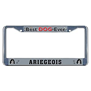 Sign Destination Metal Insert License Plate Frame Ariegeois Dog Best Ever Weatherproof Car Accessories Chrome 2 Holes Solid Insert Set of 2 3