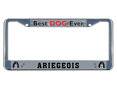 Sign Destination Metal Insert License Plate Frame Ariegeois Dog Best Ever Weatherproof Car Accessories Chrome 2 Holes Solid Insert Set of 2 1